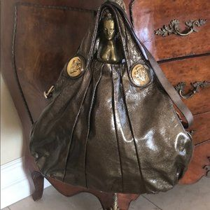 Gucci Hysteria Hobo Metallic Crinkled Leather
